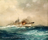 The Sinking of the Bismarck, 27 May 1941 painting reproduction, Charles E. Turner