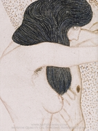 The Suffering of Weak Humanity (detail of Beethoven Frieze) painting reproduction, Gustav Klimt