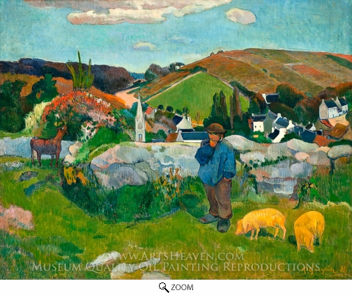 Painting Reproduction of The Swineheard, Brittany, Paul Gauguin