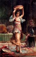 The Tambourine Player painting reproduction, Hans Zatzka