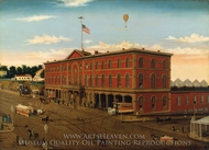 The Third Avenue Railroad Depot painting reproduction, William H. Schenck