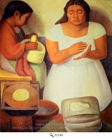 Painting Reproduction of The Tortilla Maker, Diego Rivera