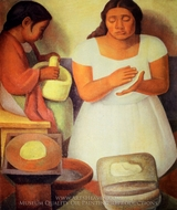 The Tortilla Maker painting reproduction, Diego Rivera