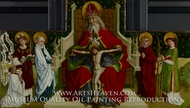 The Trinity with the Virgin, Saints John the Evangelist, Stephen and Lawrence and a Donor painting reproduction, Peter Hemmel von Andlau
