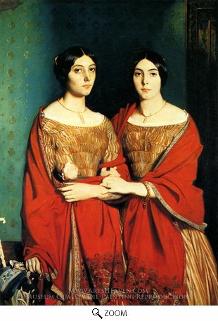 Painting Reproduction of The Two Sisters, Theodore Chasseriau