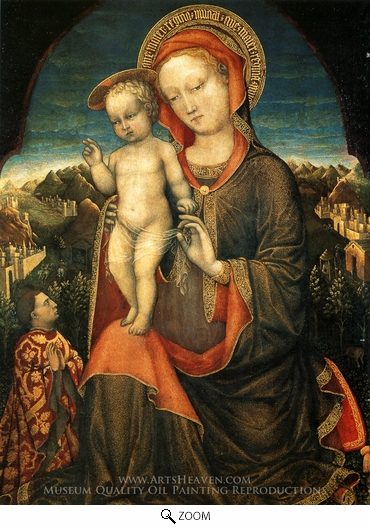 Painting Reproduction of The Virgin and Child Adored by Leonello d'Este, Jacopo Bellini