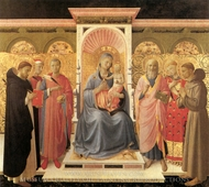 The Virgin and Child Enthrone painting reproduction, Fra Angelico