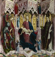 The Virgin and Child Enthroned with Angels and Saints painting reproduction, Michael Pacher