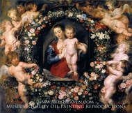 The Virgin and Child in a Garland of Flowers and Putti by Peter Paul Rubens