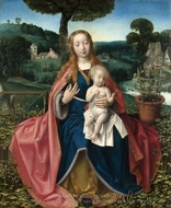 The Virgin and Child in a Landscape painting reproduction, Jan Provoost