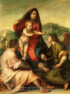 The Virgin and Child with a Saint and an Angel painting reproduction, Andrea Del Sarto