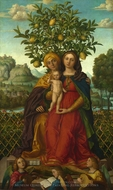 The Virgin and Child with Saint Anne painting reproduction, Gerolamo Dai Libri