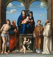 The Virgin and Child with Saint Anne and Other Saints painting reproduction, Francesco Francia