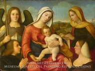 The Virgin and Child with Saints and Donors painting reproduction, Francesco Bissolo