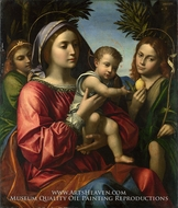The Virgin and Child with the Baptist and an Angel painting reproduction, Paolo Morando