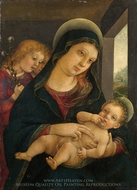 The Virgin and Child with Two Angels painting reproduction, Liberale Da Verona