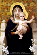 The Virgin of the Lilies (La Vierge au Lys) painting reproduction, William Adolphe Bouguereau