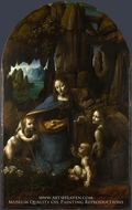 The Virgin of the Rocks painting reproduction, Leonardo Da Vinci