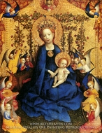 The Virgin of the Rose Garden painting reproduction, Stefan Lochner