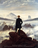 The Wanderer above the Sea of Clouds painting reproduction, Caspar David Friedrich