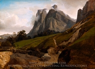 The Wetterhorn, Switzerland painting reproduction, Theodore Caruelle d'Aligny