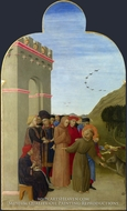 The Wolf of Gubbio painting reproduction, Sassetta