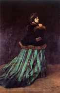 The Woman in a Green Dress painting reproduction, Claude Monet
