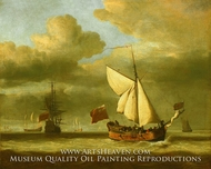 The Yacht Royal Escape Close-Hauled in a Breeze painting reproduction, Willem Van De Velde, The Younger
