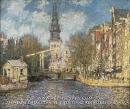 The Zuiderkerk, Amsterdam (Looking up the Groenburgwal) by Claude Monet