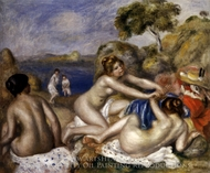 Three Bathers with a Crab painting reproduction, Pierre-Auguste Renoir