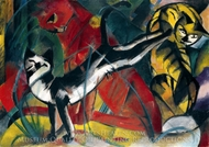 Three Cats painting reproduction, Franz Marc