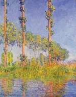 Three Poplar Trees, Autumn Effect painting reproduction, Claude Monet