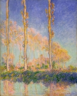 Three Poplar Trees in the Autumn painting reproduction, Claude Monet