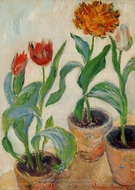 Three Pots of Tulips painting reproduction, Claude Monet