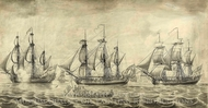 Three Ships of the Hudson Bay Company off Greenwich painting reproduction, John Hood