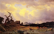Thunderstorm in the Rocky Mountains painting reproduction, Albert Bierstadt