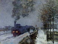 Train in the Snow, the Locomotive painting reproduction, Claude Monet
