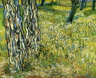 Tree Trunks in the Grass painting reproduction, Vincent Van Gogh