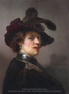 Tronie of a man with a feathered beret painting reproduction, Rembrandt Van Rijn