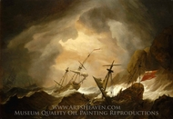 Two English Ships Wrecked in a Storm on a Rocky Coast painting reproduction, Willem Van De Velde, The Younger