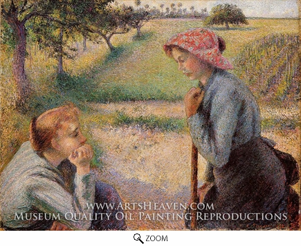 Painting Reproduction of Two Peasant Woman Chatting, Camille Pissarro