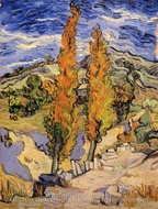 Two Poplars on a Hill by Vincent Van Gogh