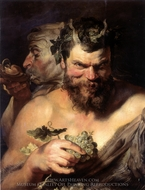 Two Satyrs painting reproduction, Peter Paul Rubens