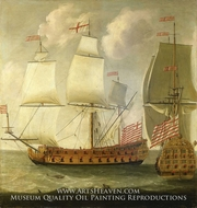 Two Views of an East Indiaman of the Time of King William III by Isaac Sailmaker