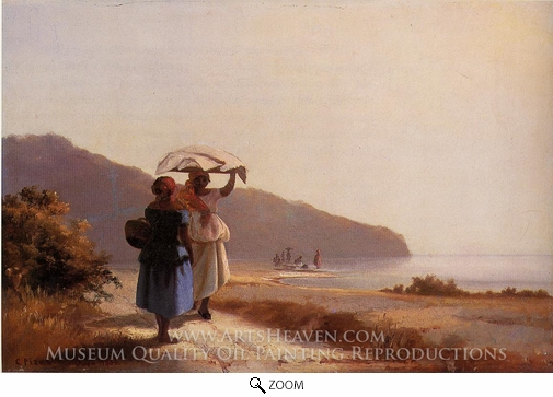 Painting Reproduction of Two Women Chatting by the Sea, St. Thomas, Camille Pissarro