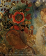Two Young Girls Among Flowers painting reproduction, Odilon Redon