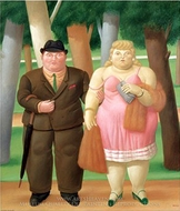 Una Coppia painting reproduction, Fernando Botero
