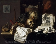 Vanitas painting reproduction, N. L. Peschier