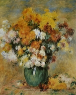 Vase of Chrysanthemums painting reproduction, Pierre-Auguste Renoir