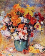 Vase of Chrysanthemums by Pierre-Auguste Renoir